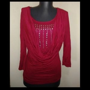 cute red studded top
